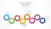 Infographic design elements for your business data with 8 options, parts, steps, timelines or processes. Gear wheel concept, Vector Illustration.