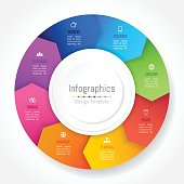 Infographic design elements for your business data with 8 options, parts, steps, timelines or processes, Arrow wheel circle style. Vector Illustration.