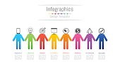 Infographic design elements for your business data with 8 options, parts, steps, timelines or processes, connecting people concept. Vector Illustration.