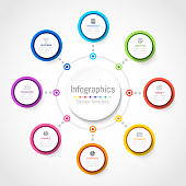 Infographic design elements for your business data with 8 options, parts, steps, timelines or processes, Circle round concept. Vector Illustration.