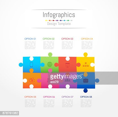 Infographic design elements for your business data with 8 options, parts, steps, timelines or processes. Jigsaw puzzle concept, Vector Illustration. : stock vector