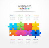 Infographic design elements for your business data with 8 options, parts, steps, timelines or processes. Jigsaw puzzle concept, Vector Illustration.