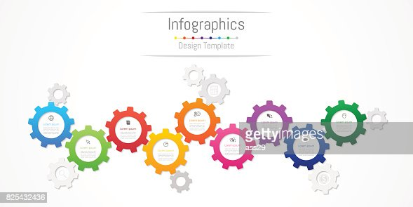 Infographic design elements for your business data with 9 options, parts, steps, timelines or processes. Gear wheel concept, Vector Illustration. : stock vector