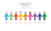 Infographic design elements for your business data with 9 options, parts, steps, timelines or processes, connecting people concept. Vector Illustration.