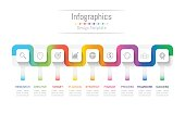 Infographic design elements for your business data with 9 options, parts, steps, timelines or processes. Connection line concept. Connection line concept, Vector Illustration.