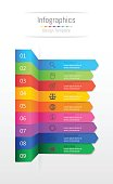 Infographic design elements for your business data with 9 options, parts, steps, timelines or processes, Sticky note paper concept. Vector Illustration.