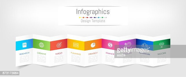 Infographic design elements for your business data with 9 options, parts, steps, timelines or processes. Brochure paper concept, Vector Illustration. : stock vector