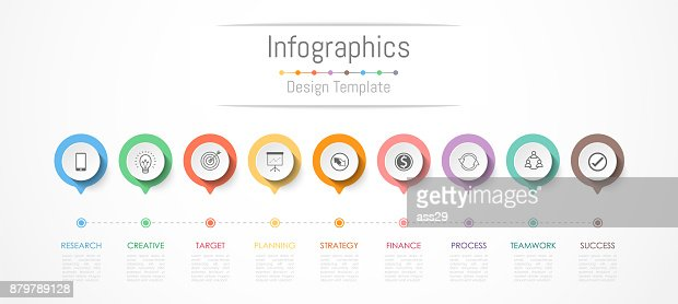 Infographic design elements for your business data with 9 options, parts, steps, timelines or processes. Vector Illustration. : stock vector
