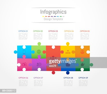Infographic design elements for your business data with 9 options, parts, steps, timelines or processes. Jigsaw puzzle concept, Vector Illustration. : stock vector