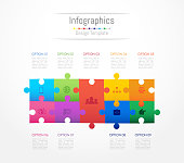 Infographic design elements for your business data with 9 options, parts, steps, timelines or processes. Jigsaw puzzle concept, Vector Illustration.