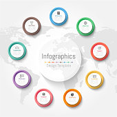 Infographic design elements for your business data with 9 options, parts, steps, timelines or processes. Vector Illustration. World map of this image furnished by NASA