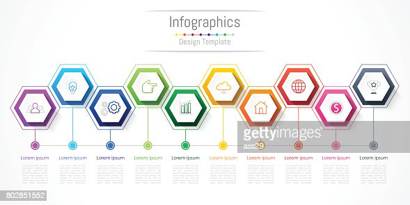 Infographic design elements for your business with 10 options, parts, steps or processes, Vector Illustration. : stock vector
