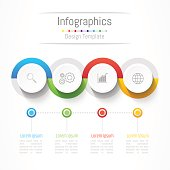 Infographic design elements for your business with 4 options, parts, steps or processes, Vector Illustration.