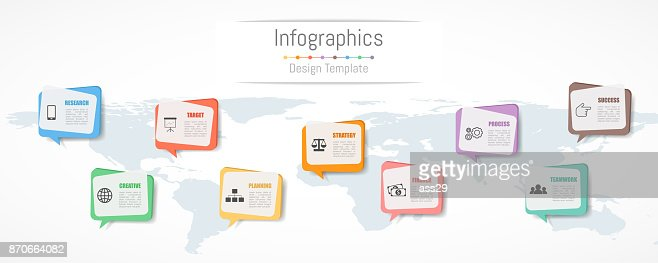 Infographic design for your business data with 9 options, parts, steps, timelines or processes.  Communication network concept,  Vector Illustration. World map of this image furnished by NASA : stock vector