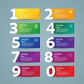 Infographic design template and marketing icons, Business concept with 10 options,realistic colorful ribbons and big numbers.