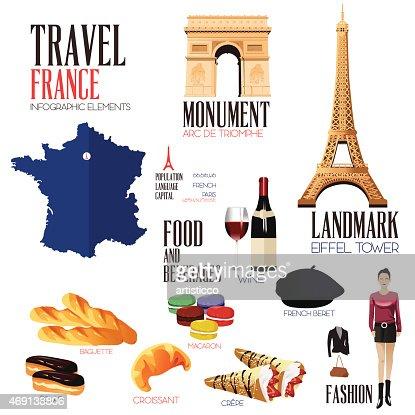 Französische küche comic  Infografikelemente Für Reisen Nach Frankreich Vektorgrafik ...