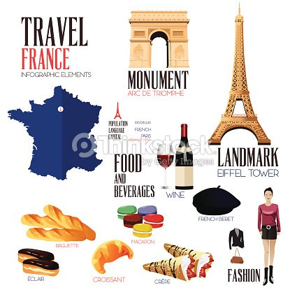 infographic elements for traveling to france vector art. Black Bedroom Furniture Sets. Home Design Ideas