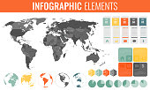 Infographic Elements Set. World map, markers, charts and other elements. Business infographic. Vector illustrationInfographic Elements Set. World map, markers, charts and other elements. Business info