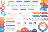 Infographic elements - circle diagram, timeline, progress indicators, diagram with percents, design templates with numbers (steps or options) and text, quote frames or text boxes,vector eps10 illustra