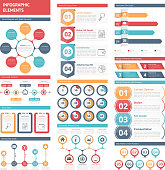 Infographic elements - circle diagram, timeline, bar graphs, design elements with numbers, workflow, steps, options, timers, process charts, vector eps10 illustration