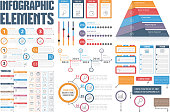 Infographic Elements - process infographics, workflow diagrams, timeline infographics, steps and options, pyramid chart, table, text box, flowchart design elements, vector eps10 illustration