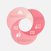 Pink circle origami style options banner. Vector illustration. Can be used for workflow layout, diagram, number options, step up options, web design, infographics.