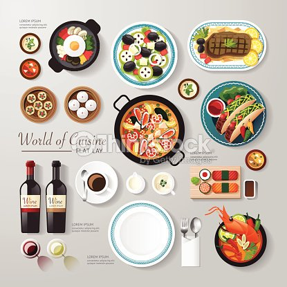 Infographic food business flat lay idea. Vector illustration