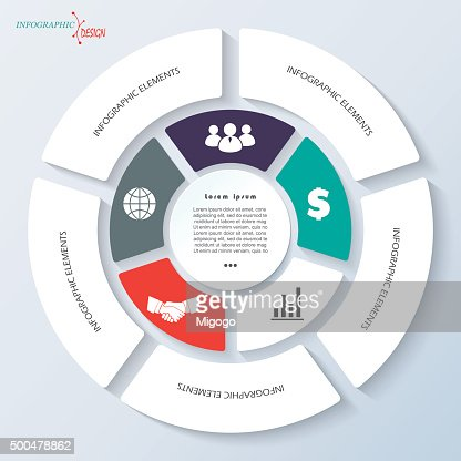 Infographic For Business Project Presentation With Circle And Five