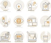 Infographic Icons Elements about Creative Process. Flat Thin Line Icons Set Pictogram for Website and Mobile Application Graphics.
