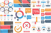 Infographic objects for presentation, reports, workflow - circle diagram, bar graph, pie chart, process diagram, timeline, objects with percents and text, business infographic elements, vector eps10 i