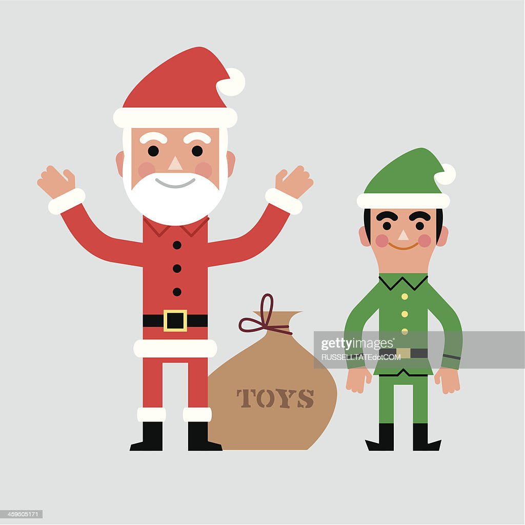 infographic santa and elf vector art getty images