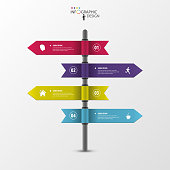 Infographic template of multidirectional pointers on a signpost.