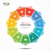 Infographic template with 11 options circle chart. The elements of this template can be easily adjusted, transformed, added, deleted and the colour can be changed.