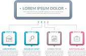 Infographic template with main title and 4 steps or options, workflow, process chart, vector eps10 illustration
