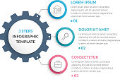 Infographic template with gear with three elements, steps or options, vector eps10 illustration