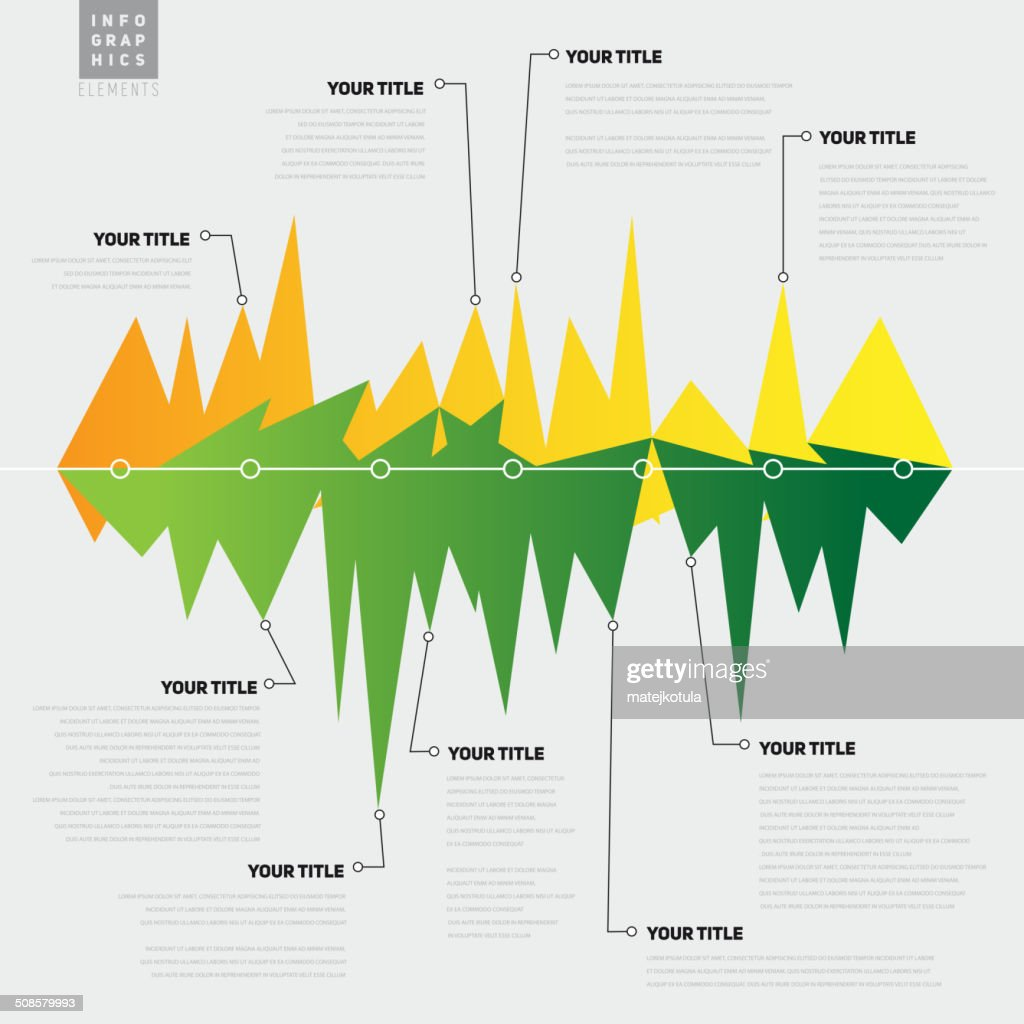 Infographic template with lines with peaks, graph theme - vector : Vector Art