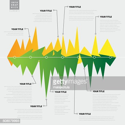 Infographic template with lines with peaks, graph theme - vector : Vectorkunst