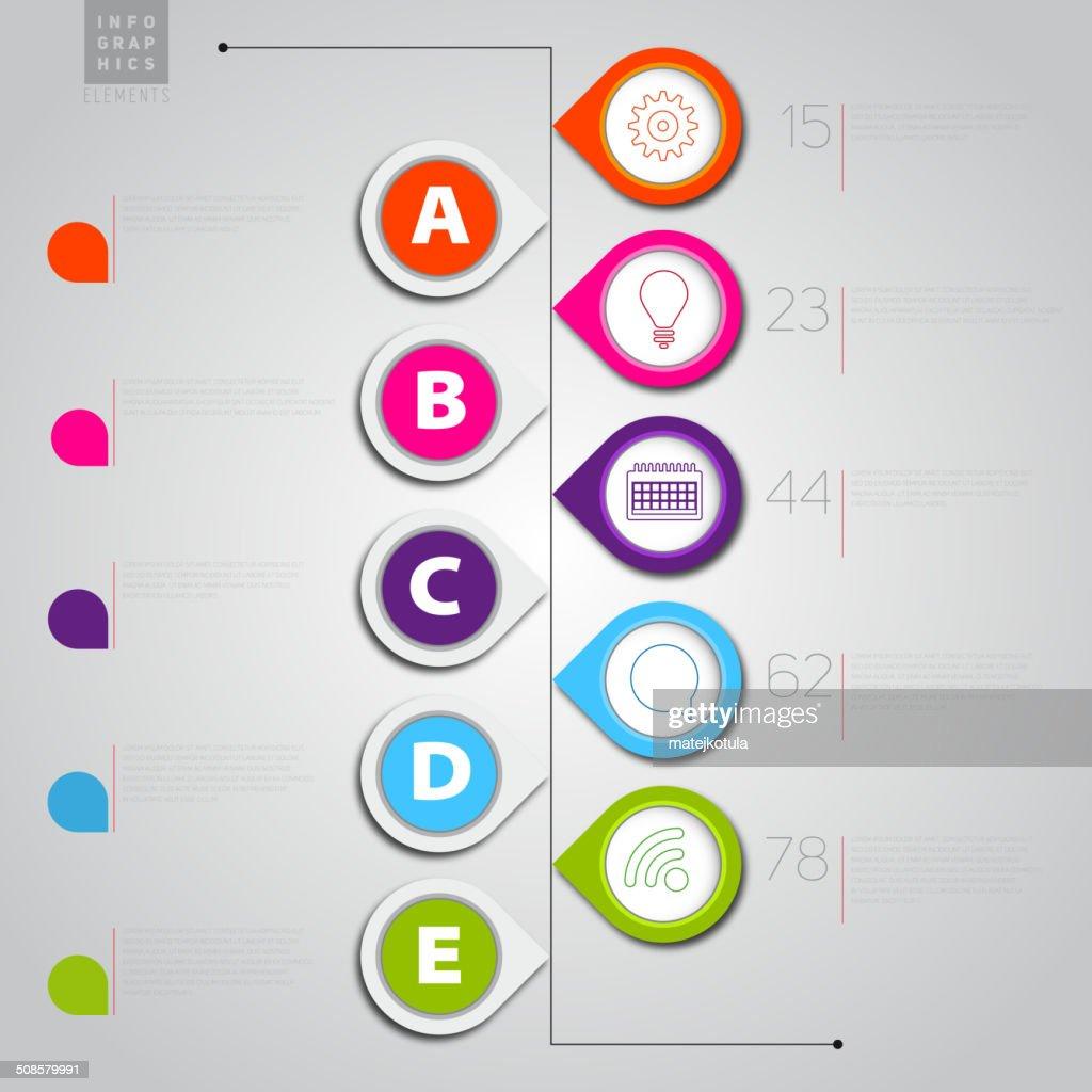 Infographie modèle avec des pointeurs et icônes-Illustration : Clipart vectoriel