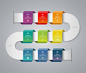 Infographic timeline template. Vector banner with 9 options, steps, parts.
