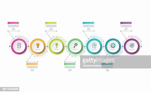 Infographic timeline template with 7 options. Can be used as a chart, diagram, graph for business presentation, annual report, brochure, web design. : stock vector