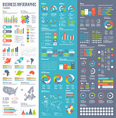 Set of vector business infographic elements for printed documents, website or presentation slides.