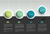 Infographic vector option banner with pendulum. Color spheres, balls, bubbles. Infographic template.