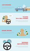 infographics banners collection with causes of car accidents, talk on a cell phone, drunk driving, speeding and distracted