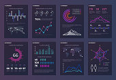 Infographics, brochures vector templates for business reports with line charts and diagrams. Chart and diagram presentation brochure, template of infographic diagram for business illustration