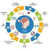 Infographics for stroke. Prevent a Stroke. Vector illustration.