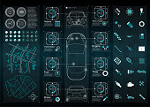Infographics of freight transport and transportation.Template of automobile infographics. Abstract virtual graphic touch user interface. Cars diagnostic. Template app for car service and mobile car re