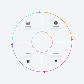 Infographics template 4 options with circle. Data and information visualization. Dynamic infographics stylish geometric. element for design business invitations, gift cards, flyers and brochures