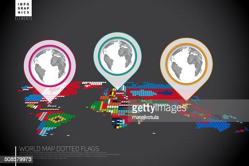 Infografiken Weltkarte von Punkten mit den pointer marks : Vektorgrafik