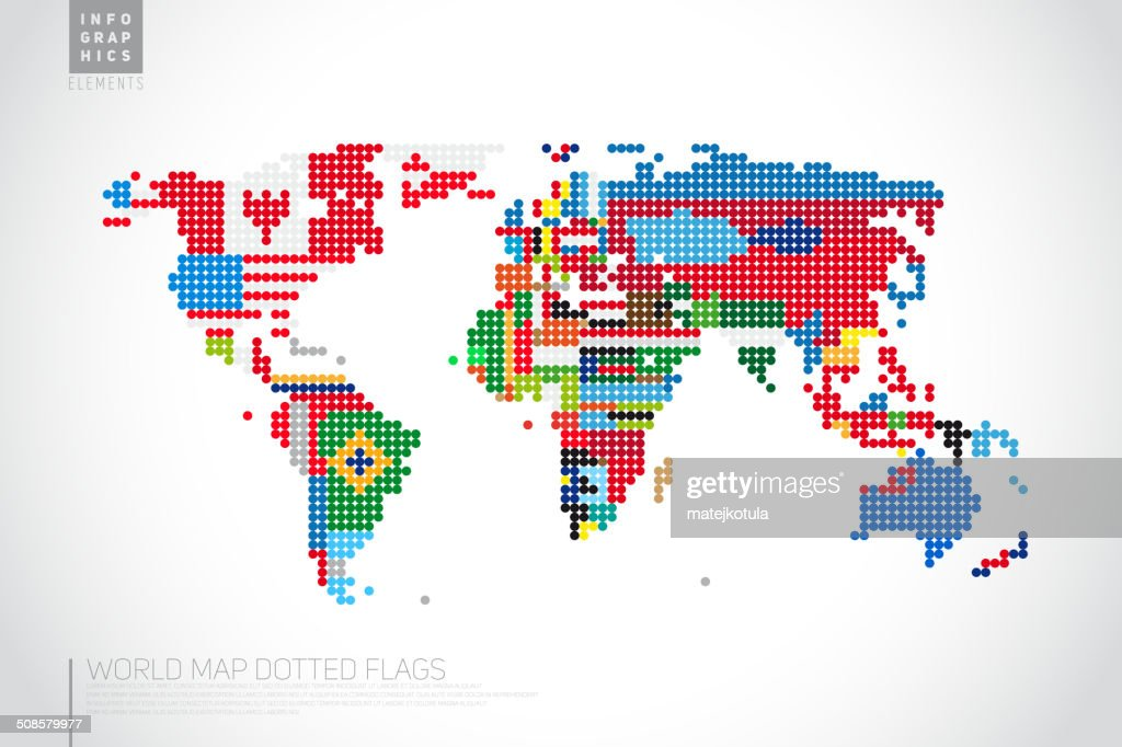 Infographics World map from dots with pointer marks : Vektorgrafik