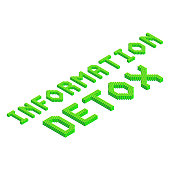 information detox 3d isometric text in green colors isolated on white background, stock vector illustration clip art template